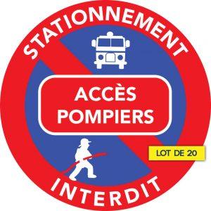 Stationnement interdit devant accès pompiers