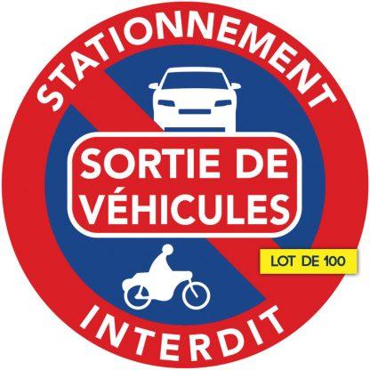interdiction de stationner devant sortie de véhicules. Par 100