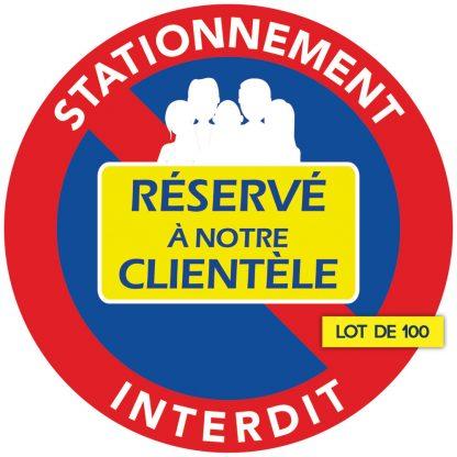 stationnement réservé à la clientèle. Par 100