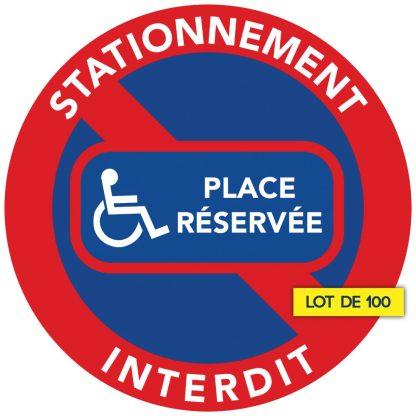 place réservée aux handicapés. Autocollants par lot de 100