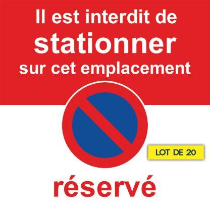 Autocollant stationnement réservé. Lot de 20
