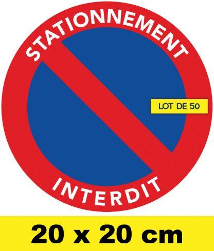 stickers stationnement interdit grand format par 50