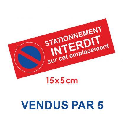 Stickers stationnement interdit par 5